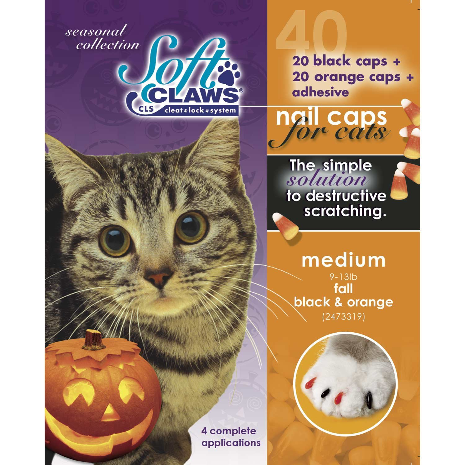 Feline Soft Claws 40-Pack Pet Halloween Colors Nail Cap Kit, Medium, Black and Orange