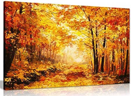 Abstract Vivid Oil Painting Colourful Orange Yellow Autumn Forest ...