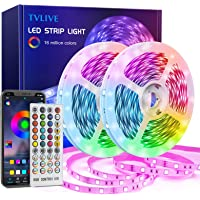 TVLIVE Tiras LED 20M, Luces LED Habitación 5050 RGB, Control Remoto 40 Botones y App, Sincronización Musical, 16…