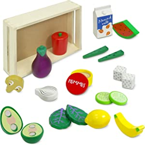Kidzlane Wooden Vegan Food Set with Storage Crate | Wooden Play Food Kitchen Toy | First Vegan Pretend Food Wooden Set | 20 Piece Set | Ages 3+