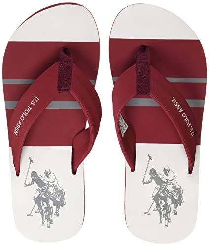 f67f2bd9bbc7 US Polo Association Men s Bavarian Maroon Flip Flops Thong Sandals-11 UK  India (