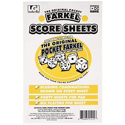 Legendary Games LGISCPDLG Farkel Score Pad, Multicolor: Toys & Games
