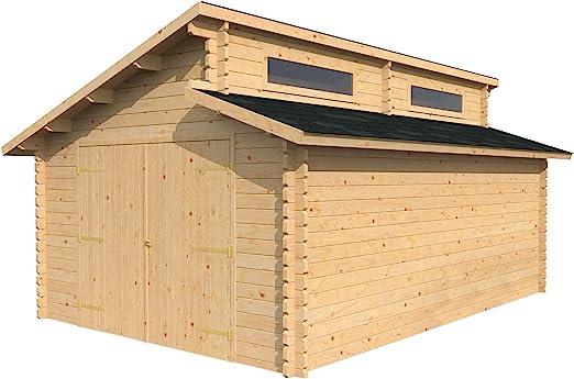 3, 8 m x 5, 4 m) garaje cabaña de madera – dos niveles techo, único ventanas – por Walton: Amazon.es: Jardín