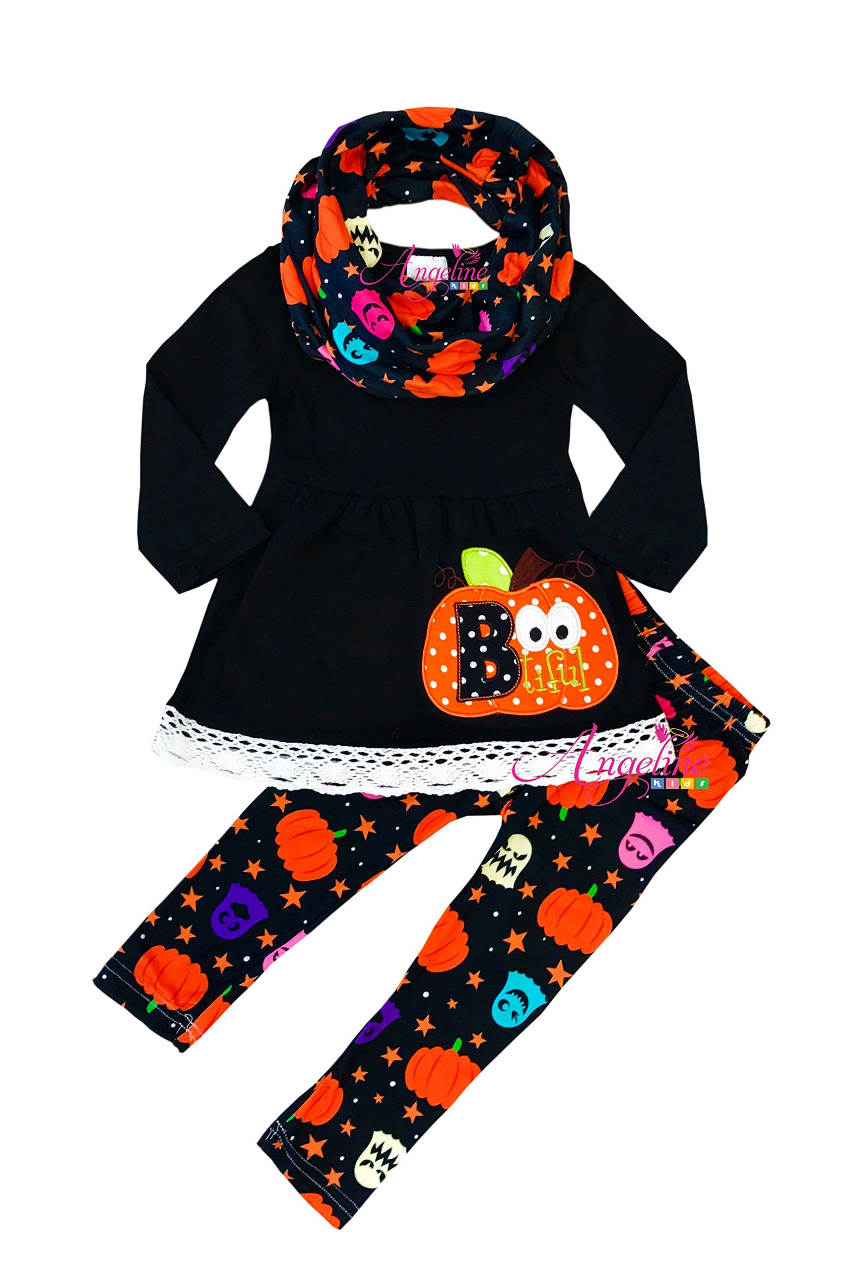 Angeline Girls Halloween Starry Night Bootiful Ghost Pumpkin Scarf Set 6T/XL