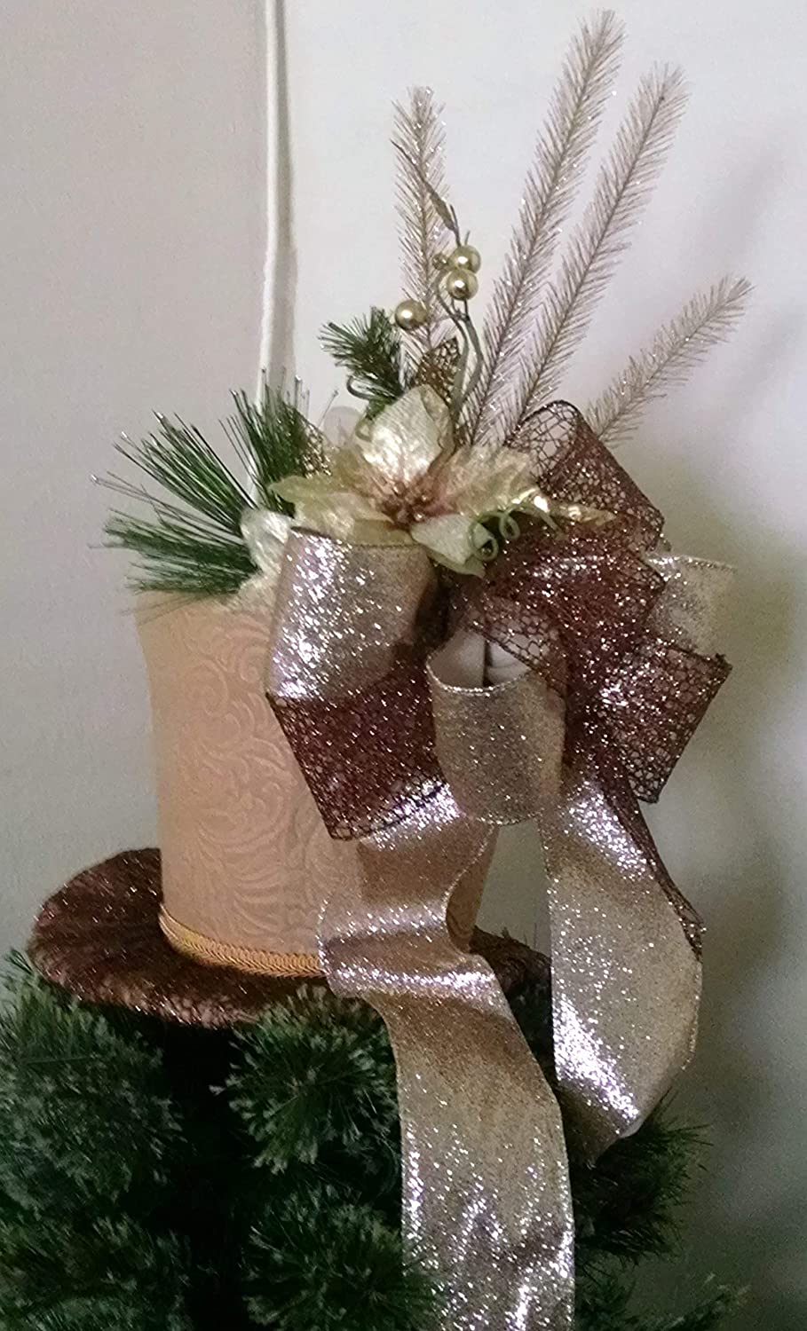 Amazon Com Tree Topper Christmas Tree Topper Gold Top Hat Tree