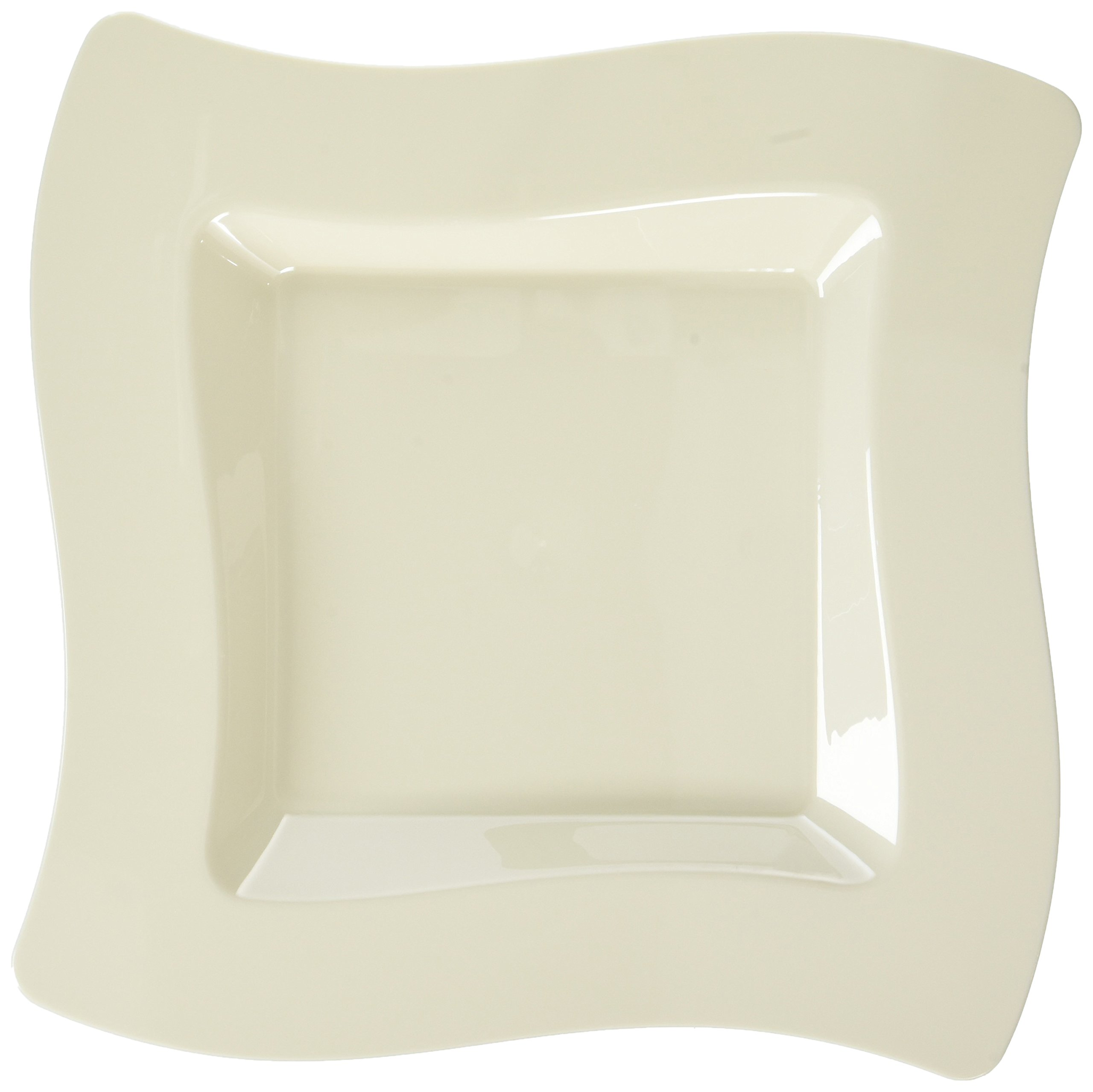 Fineline Settings Wavetrends  Bone Square-Wave China-Like 8'' Plate  120 Pieces by Wavetrends (Image #1)