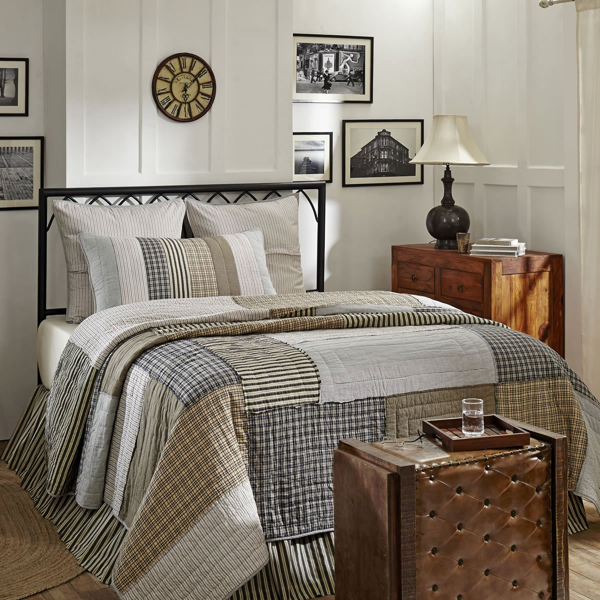 VHC Brands Farmhouse Bedding-Ashmont Quilt, King, Warm Grey