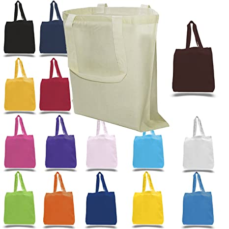 18a5bfe35117 BagzDepot 12-Pack 100% Cotton Canvas Reusable Grocery Tote Bags with Bottom  Gusset -
