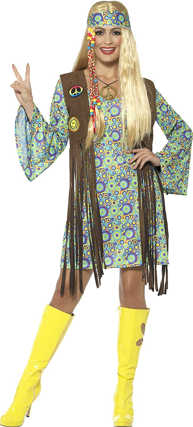 60s Costumes: Hippie, Go Go Dancer, Flower Child, Mod Style Smiffys Womens 60s Hippie Chick Costume with Dress $25.62 AT vintagedancer.com