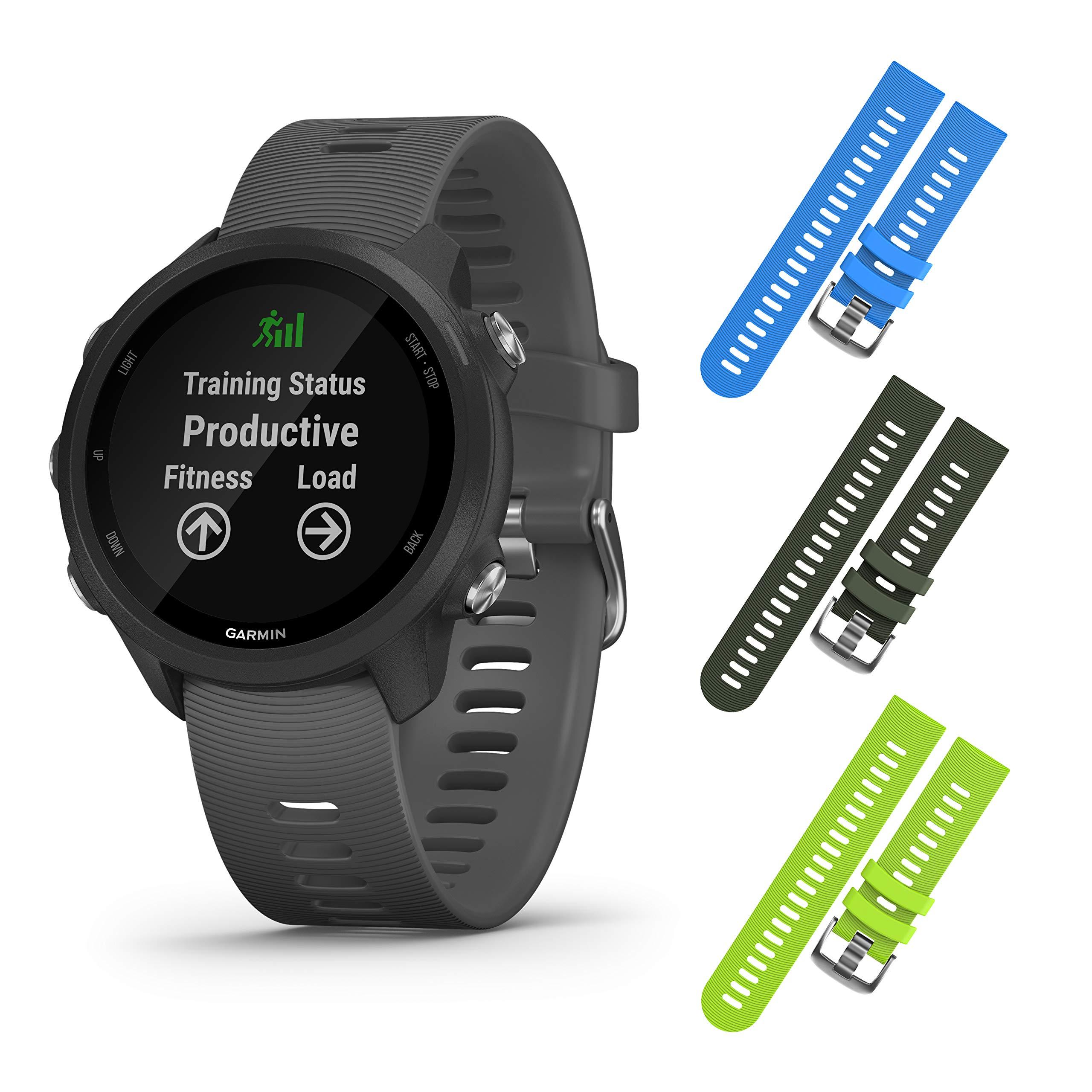Garmin Forerunner 245 GPS Running Smartwatch with Included Wearable4U 3 Straps Bundle (Slate Grey 010-02120-00, Blue/Khaki/Lime)