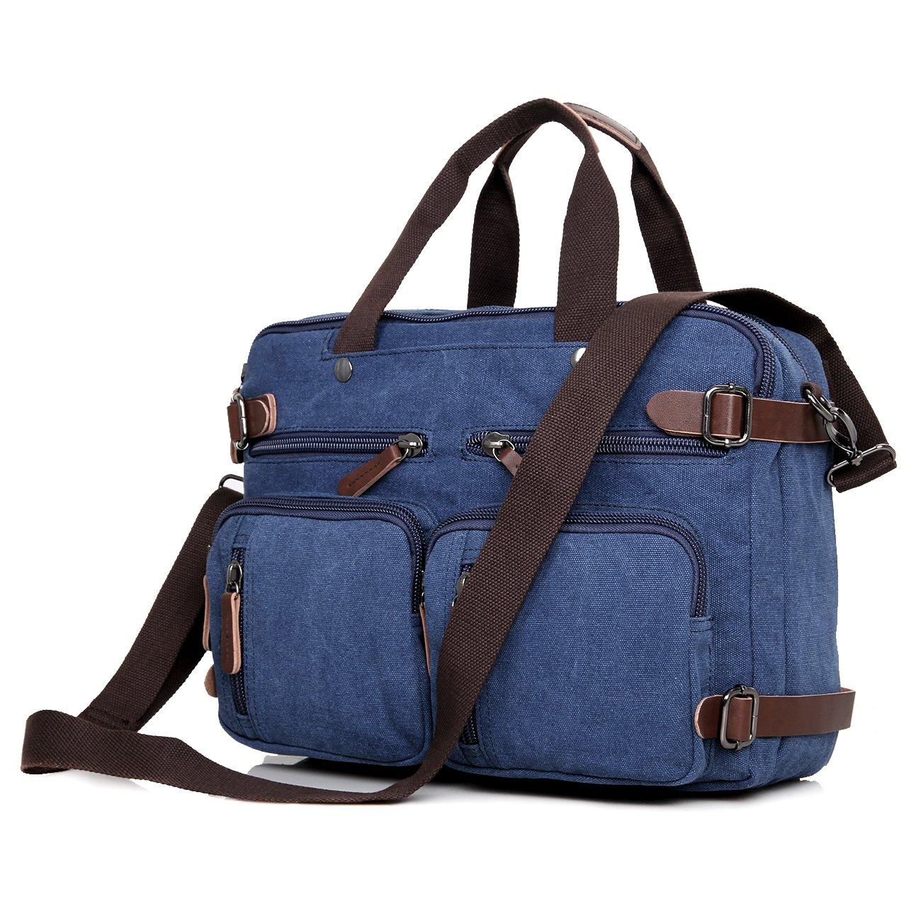 Clean Vintage Laptop Bag Hybrid Backpack Messenger Bag/Convertible Briefcase Backpack Satchel for Men Women- BookBag Rucksack Daypack-Waxed Canvas Leather, Blue by Clean Vintage (Image #3)