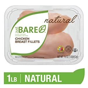 Just BARE Natural Fresh Chicken Breast Fillets | Antibiotic Free | Boneless | Skinless | 1.0 LB