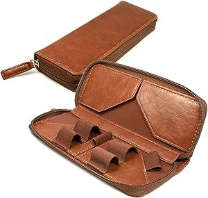 TUFF LUV Vintage Faux Leather Luxury Travel Case & Refill Holder for E-Cig Vape Pen - Brown