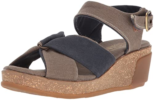 Browse Cheap Sale With Paypal El Naturalista Women's N5007T Seaweed Canvas Leaves Wedge Sandal BhfHFsq