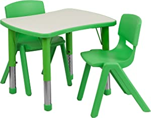 Flash Furniture 21.875''W x 26.625''L Rectangular Green Plastic Height Adjustable Activity Table Set with 2 Chairs