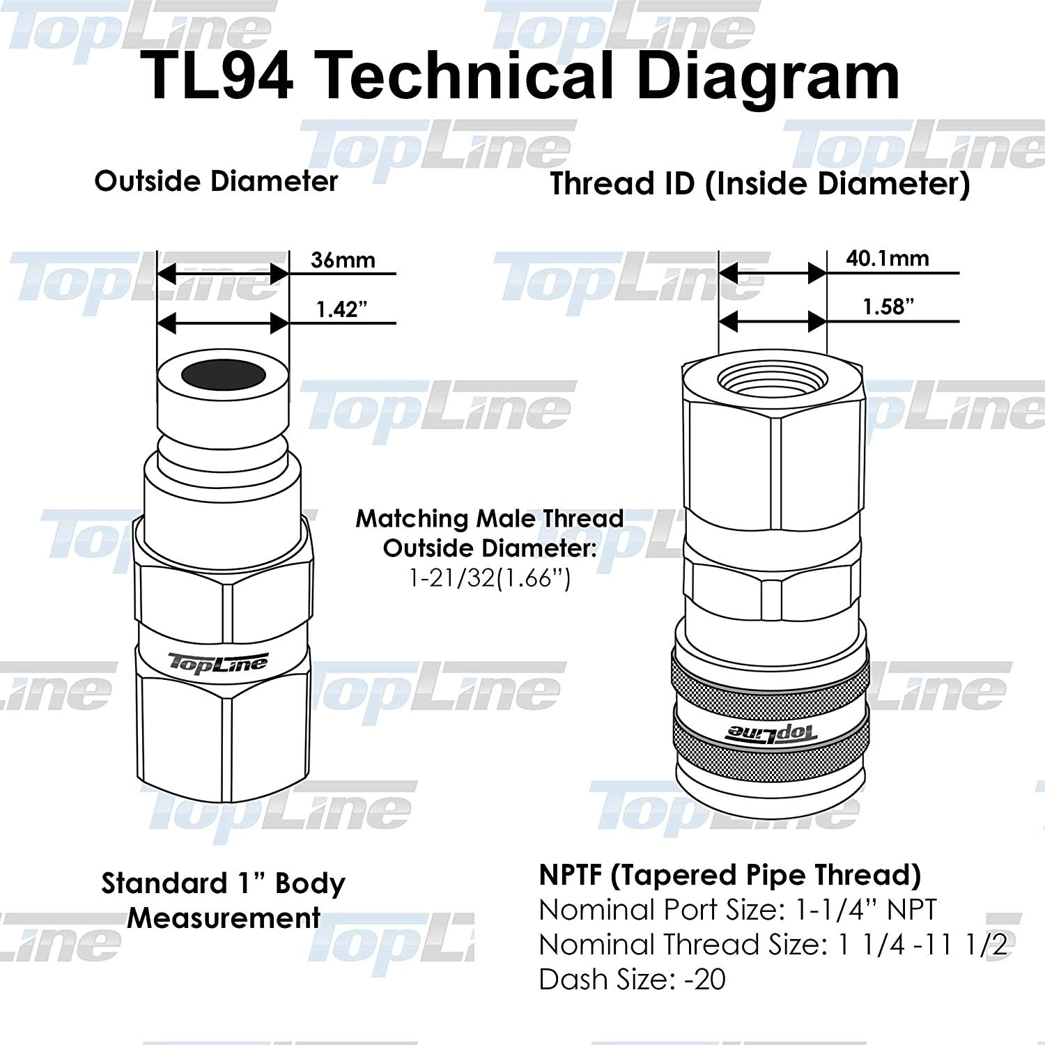 "TL94 1-1//4/″ NPT Thread 1/"" Body Flat Face Hydraulic Quick Disconnect Coupler Set for Bobcat Skid Steers Tractor with Dust Caps"