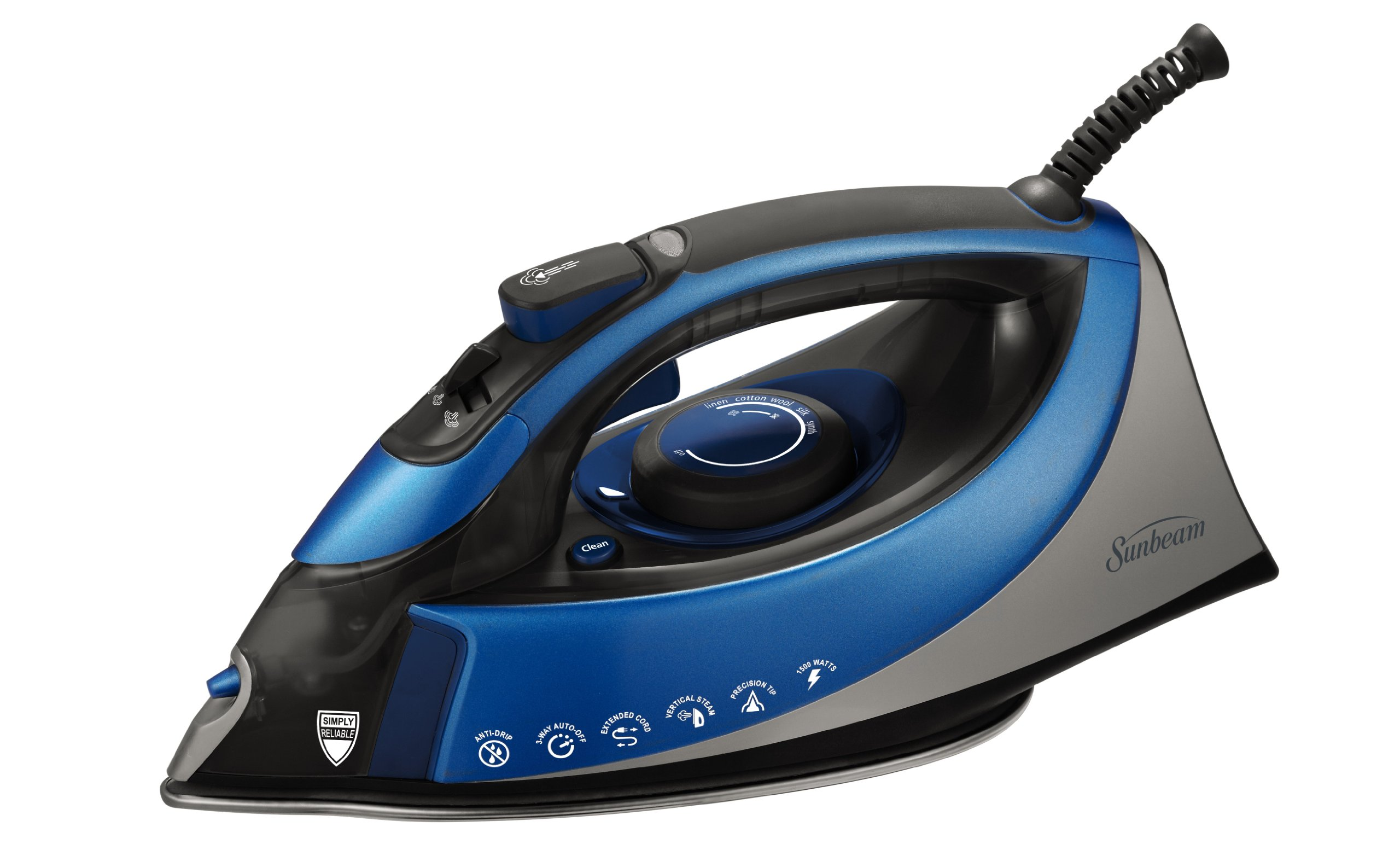 Sunbeam Turbo Steam 1500 Watt XL-size Anti-Drip Non-Stick Soleplate Iron with Shot of Steam/Vertical Shot feature and 10' 360-degree Swivel Cord, Grey/Blue, GCSBCS-200-000 by Sunbeam