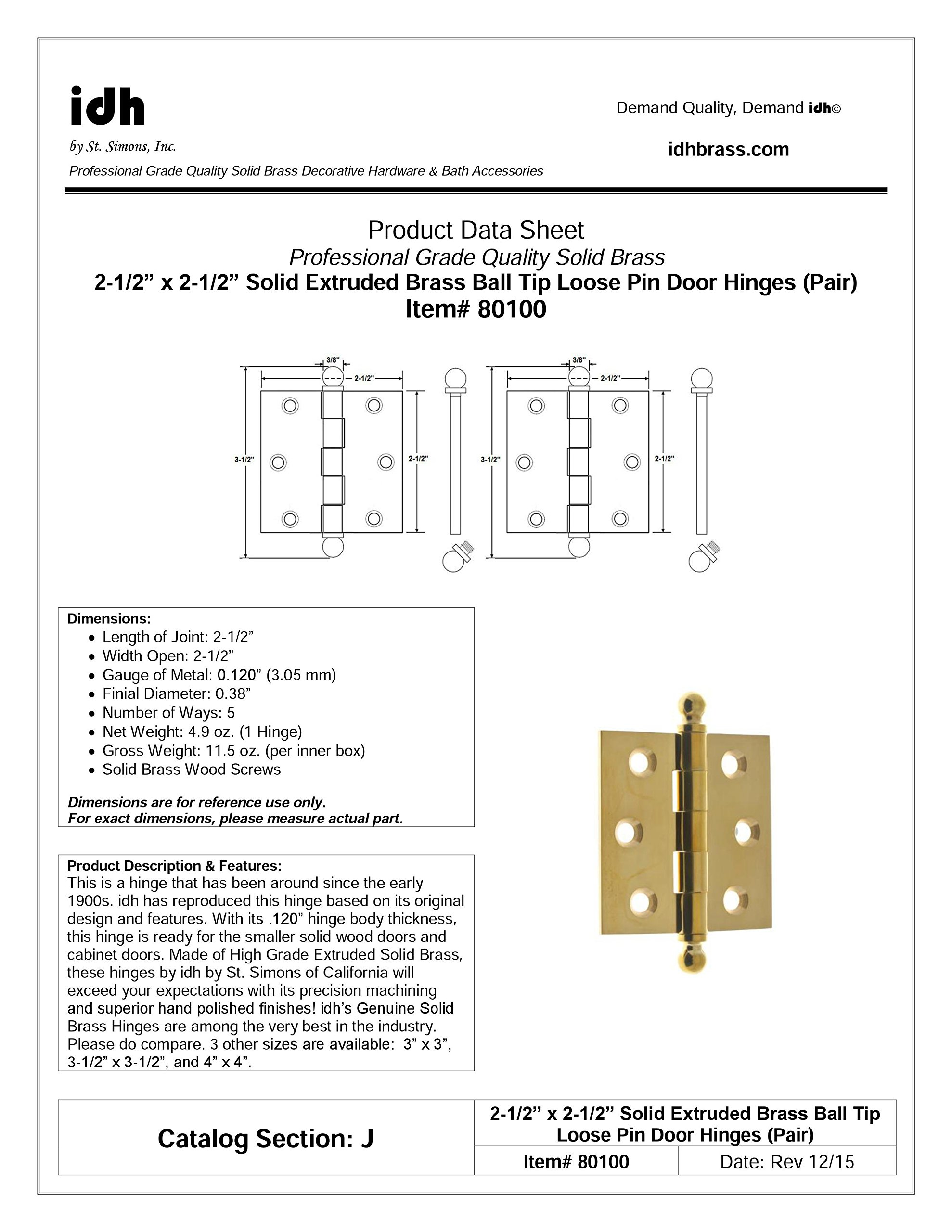 Professional Grade Quality Genuine Solid Brass 2-1/2'' x 2-1/2'' Loose Pin Hinges (Pair) by idh (Polished Brass)