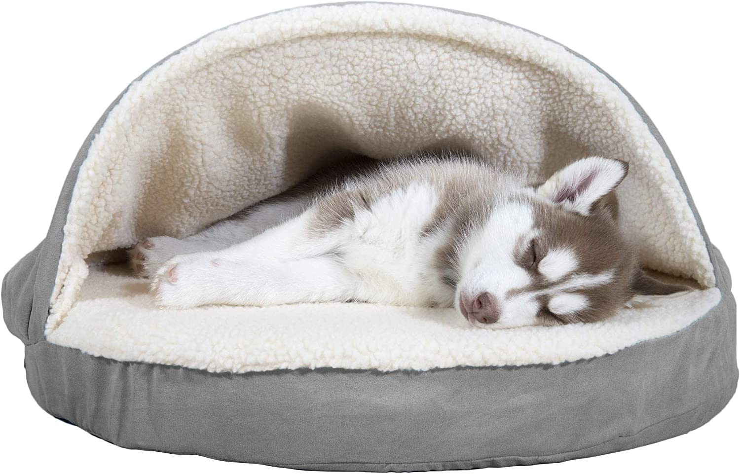 Furhaven Pet Dog Bed - Orthopedic Round Cuddle Nest Faux Sheepskin Snuggery Blanket Burrow Pet Bed with Removable Cover for Dogs and Cats, Gray, 26-Inch : Pet Supplies