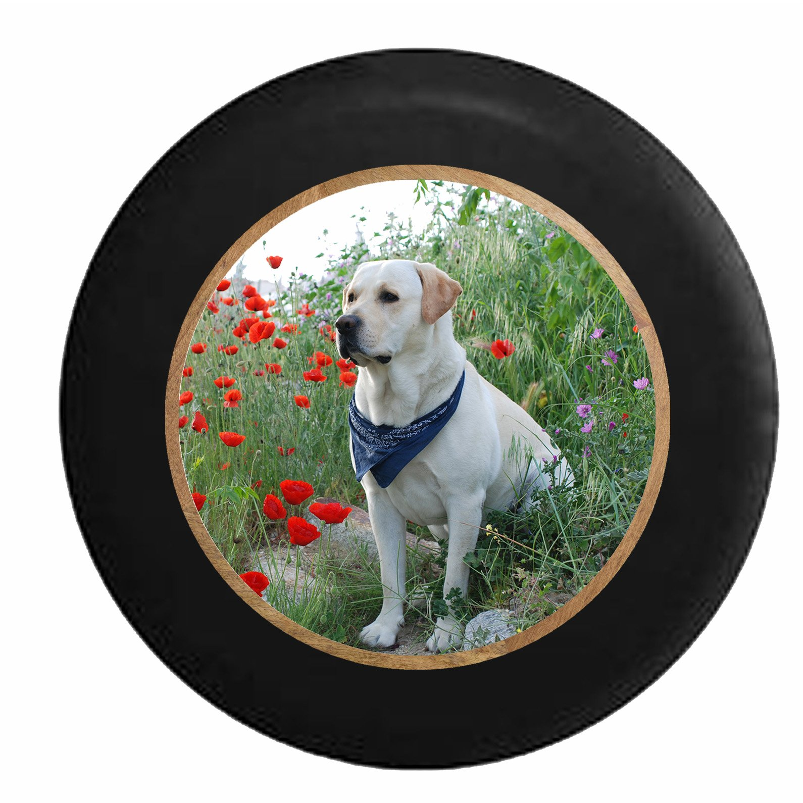 Full Color Golden Yellow Lab Labrador Hunting Tracking Dog Jeep RV Camper Spare Tire Cover Black 30 in