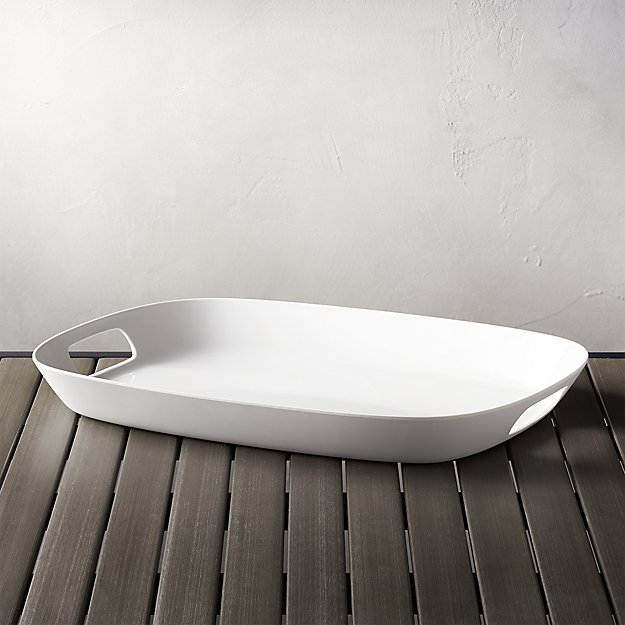"""Lunea Melamine White 19""""x14"""" Tray with Handles 