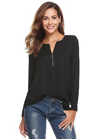 f046785c9b9fc5 Finejo Damen Elegant Blusen Tunika Blusenshirt Langarmshirt Rundhals Oberteile  T-Shirt mit Reißverschluss Vorne