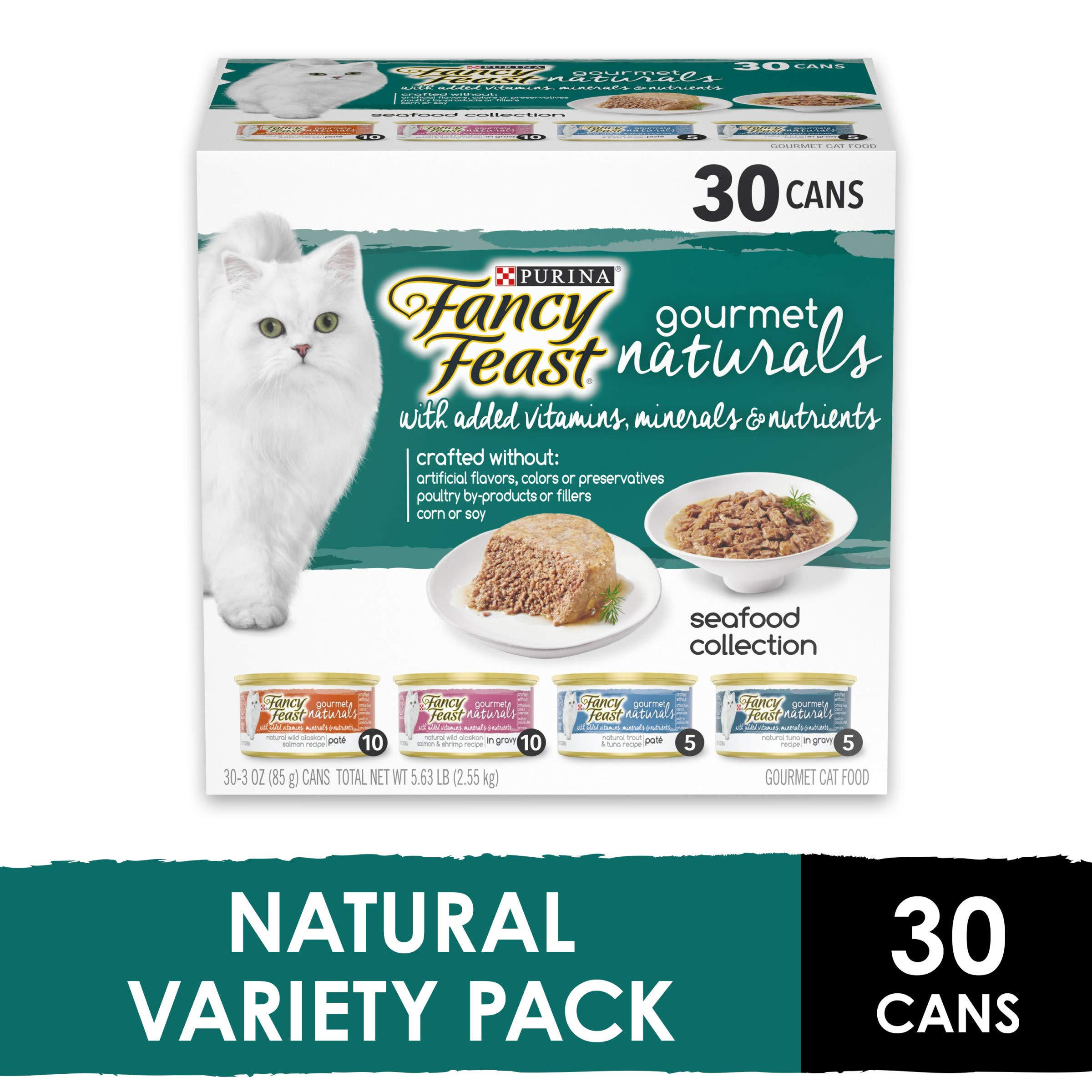 Purina Fancy Feast Natural Wet Cat Food Variety Pack, Gourmet Naturals Seafood Collection - (30) 3 oz. Cans by Purina Fancy Feast