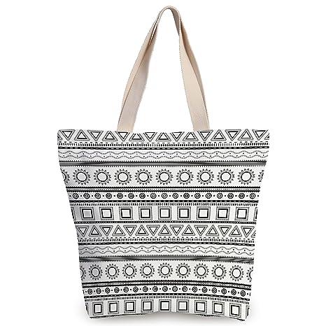 4378d4c8d3937 iPrint Funky Canvas Tote Bag,Primitive Decor,Native American Aztec Ethnic  Borders Traditional Sun
