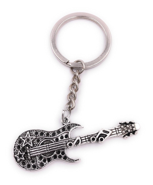 H-Customs Rock Gitarre mit Noten Schlüsselanhänger Anhänger Silber aus Metall ropckgitarremitnoten711