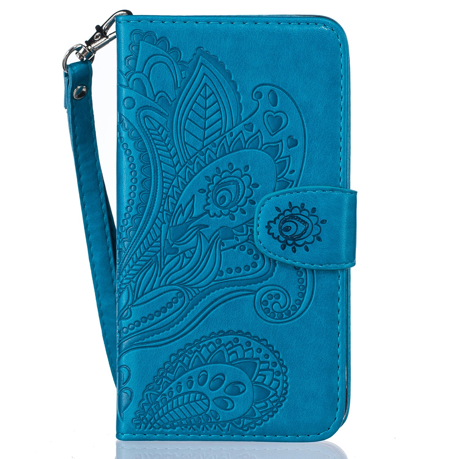 CaseHome Compatible For Samsung Galaxy Core Prime G360 Case Book Style Folio Magnetic Closure Wallet Design with Credit Card Slots Slim Fit Stand PU Leather Flip Case Cover Skin Shell-Blue