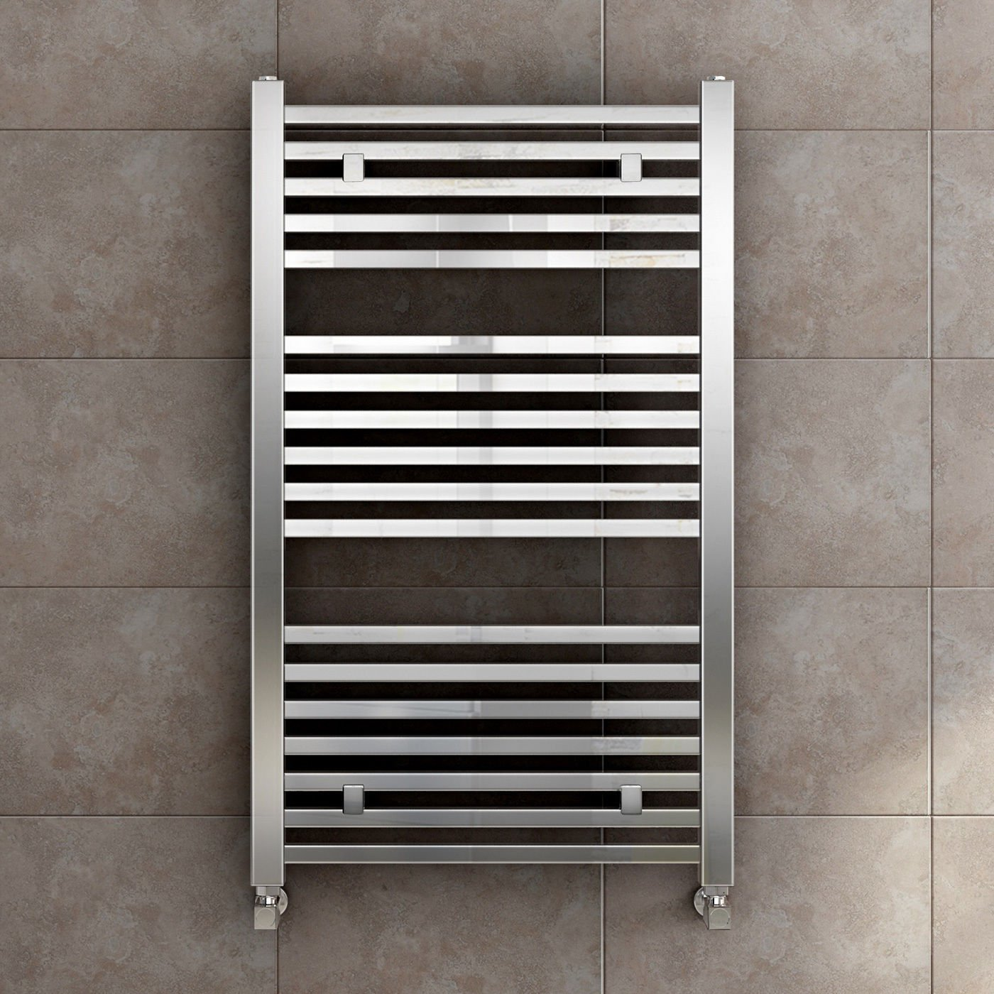 650 x 400 Premium Square Bar Heated Towel Rail Chrome Bathroom Radiator - All Sizes iBathUK
