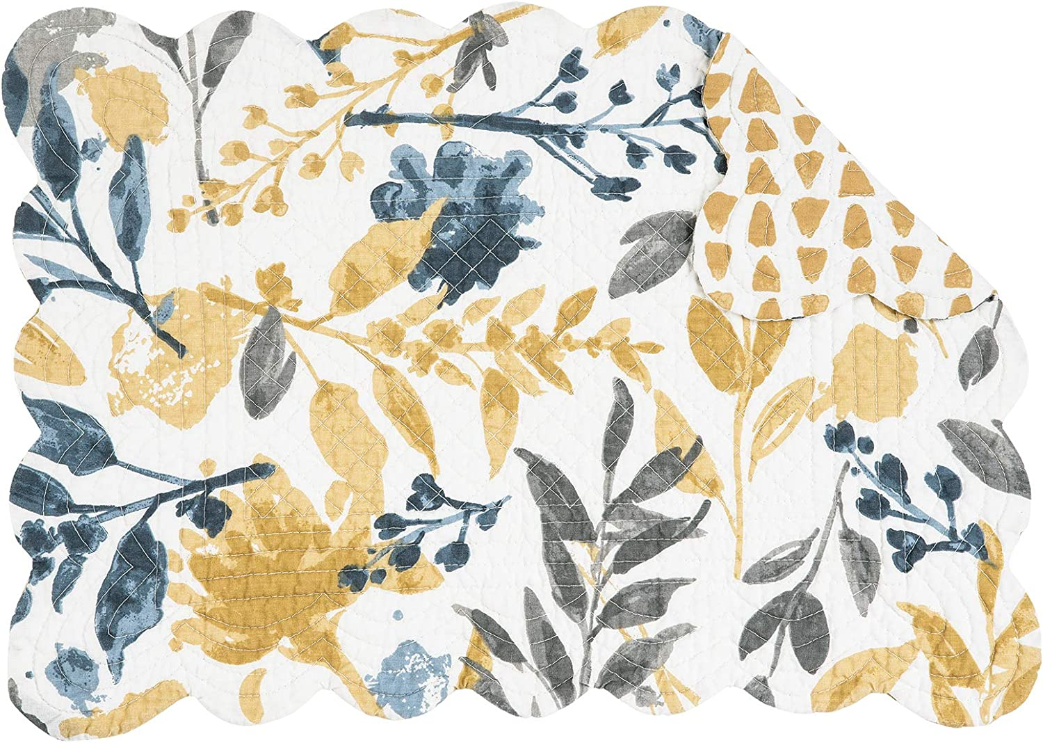 C&F Home Natural Home 13'' x 19'' Placemat Set of 6 Quilted Cotton Reversible Rectangular Floral Botanical Leaves Washable Table Mats Rectangular Placemat Set of 6 Yellow