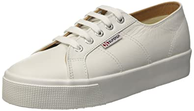 f2ff55967a6 Superga Women s 2730-Nappaleau Platform Leather Lace Up Trainer White-White -5.5