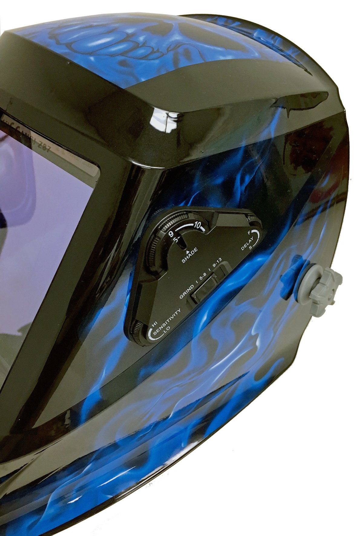 Instapark ADF Series GX990T Solar Powered Auto Darkening Welding Helmet with 4 Optical Sensors, 3.94'' X 3.86'' Viewing Area and Adjustable Shade Range #5 - #13 Bluish Devil by Instapark (Image #3)