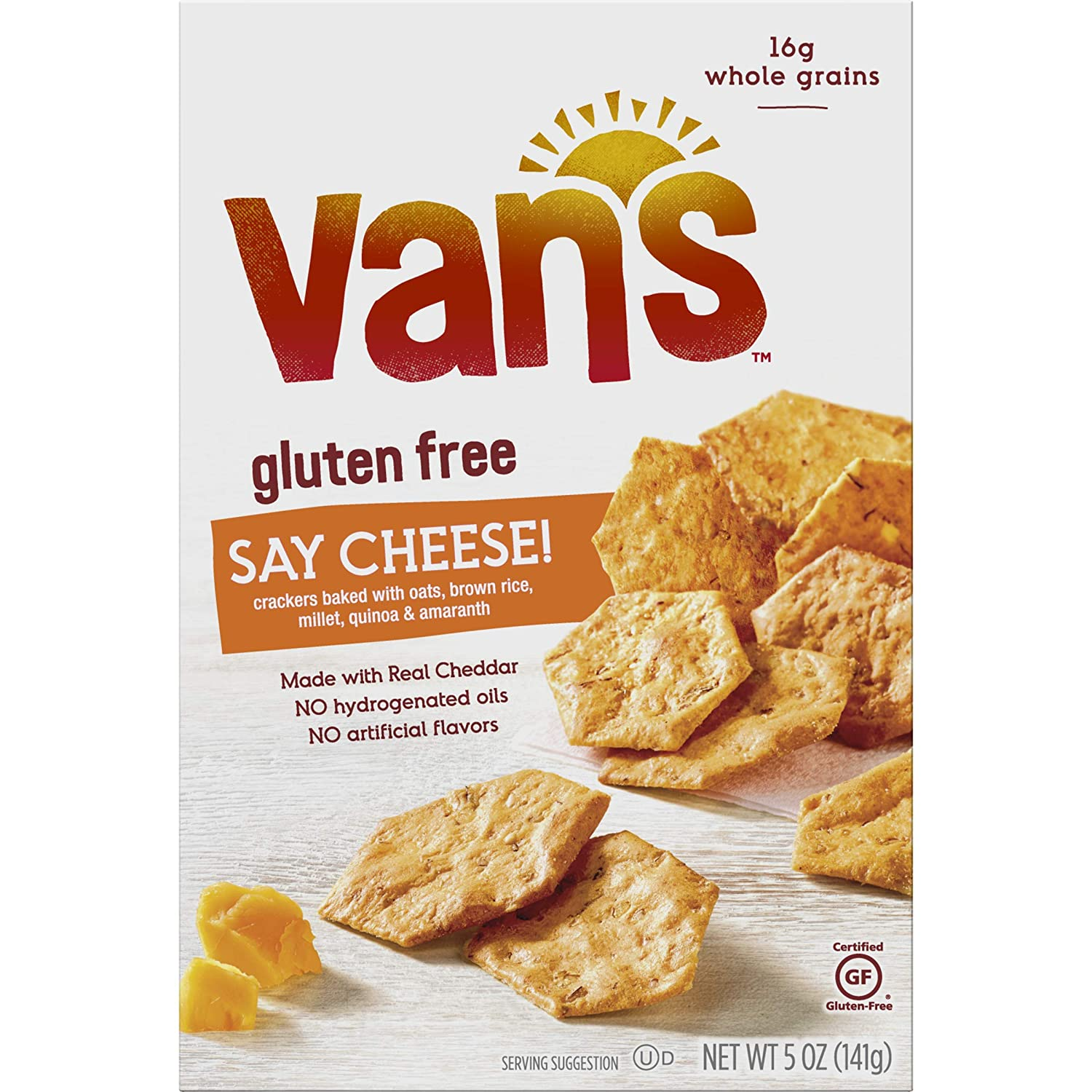 Van's Natural Foods Gluten Free Say Cheese Crackers, 5 oz