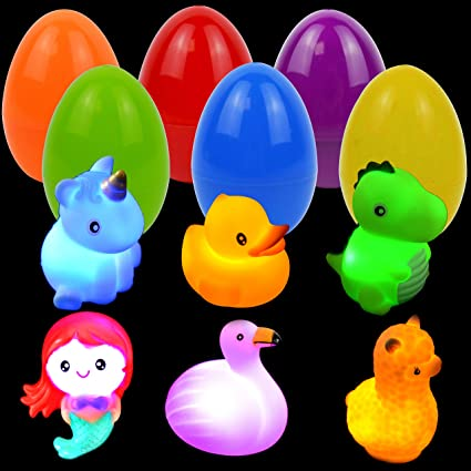JOYIN 6 Pcs Pre-Filled Easter Eggs with Light-up Floating Bath Toys for Easter Eggs Hunt, Easter Basket Stuffers/Fillers, Filling Treats, Party Favor, Classroom Prize Supplies