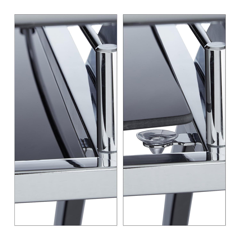 Vetro HxLxP 73 x 46 x 74 cm Relaxdays 10020780 Carrello Portavivande da Cucina Baron Rotondo Nero Metallo