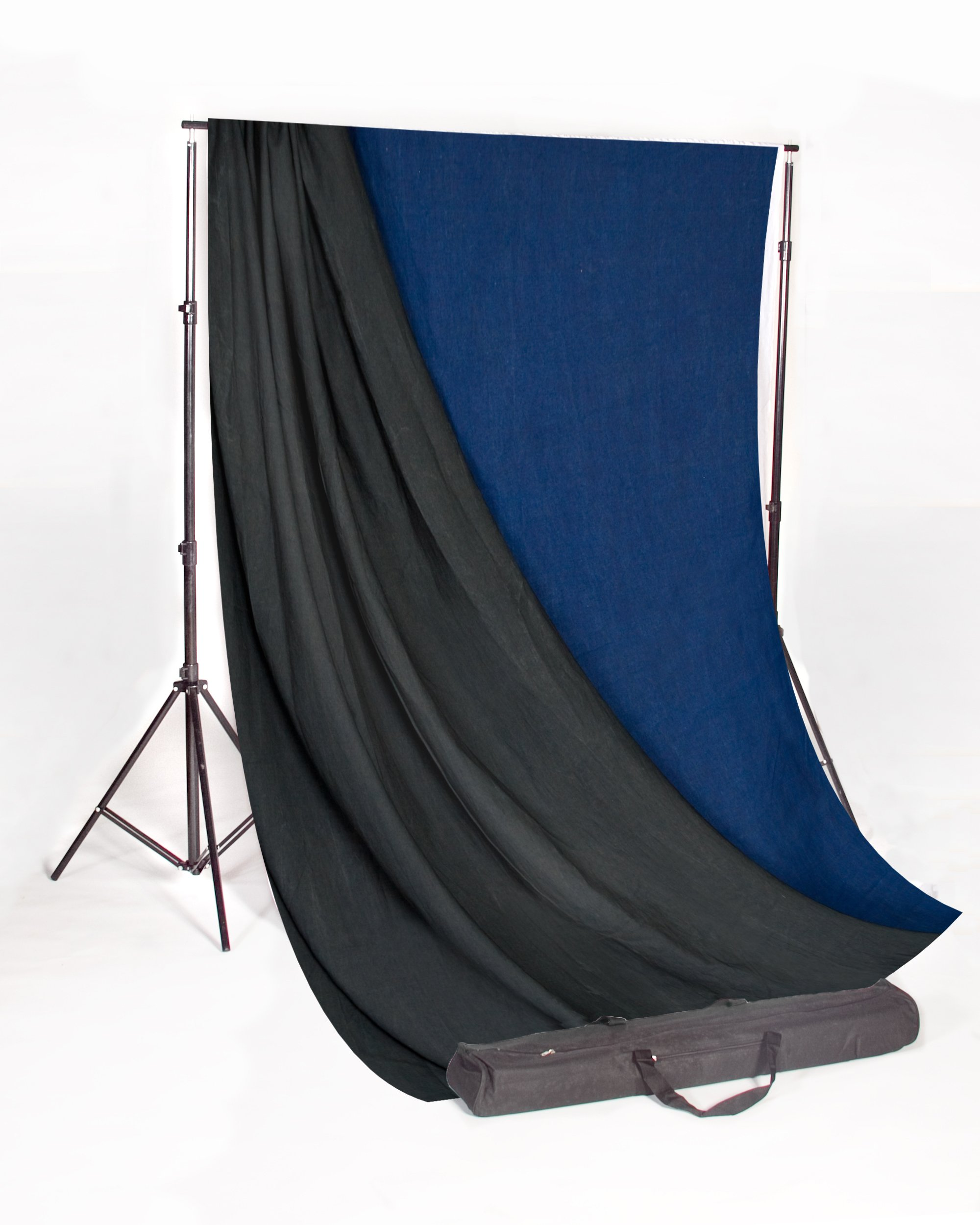 Backdrop Alley Medium Blue/Graphite Reversible Muslin Photo Background, 10' x 12'