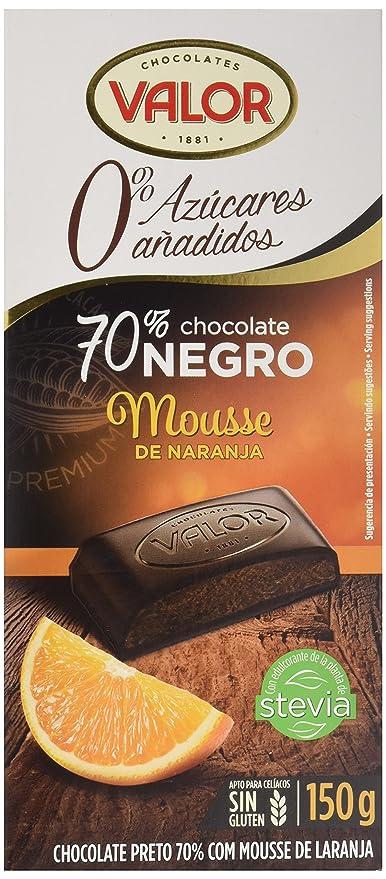 Chocolates Valor Chocolate 70% Cacao, con Mousse de Naranja, Sin Azúcar - 150