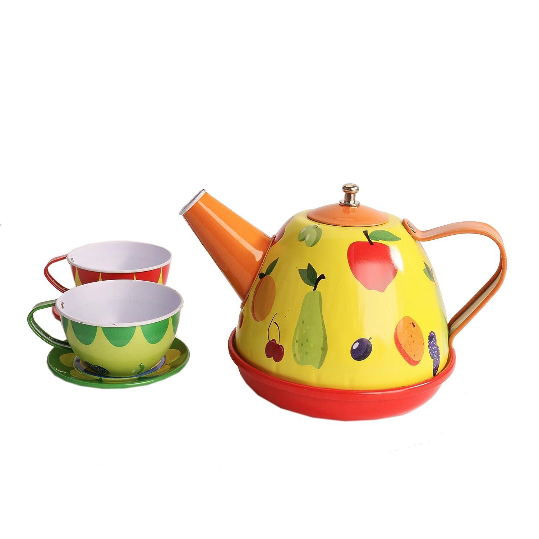 Bissport Tin Tea Set Toy Tea Kitchen Playset for Kids Girls Boys Pretend Play(Red heart)