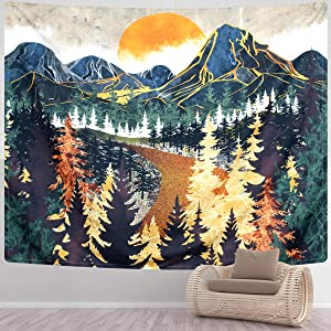 SENYYI Mountain Tapestry Wall Hanging Forest Trees Art Tapestry Sunset Tapestry Road in Nature Landscape Home Decor for Room (70.9 x 92.5 inches)