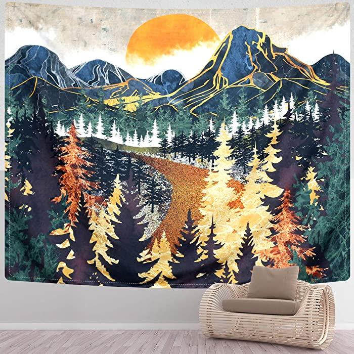 SENYYI Mountain Tapestry Wall Hanging Forest Trees Art Tapestry Sunset Tapestry Road in Nature Landscape Home Decor for Room (59.1 x 82.7 inches)
