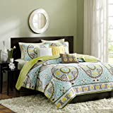 Madison Park - Samara 6 Piece Coverlet Set - Blue - King - Quilted And Embroidred - Includes  1 Coverlet, 2 Shams, 3 Decorative Pillows