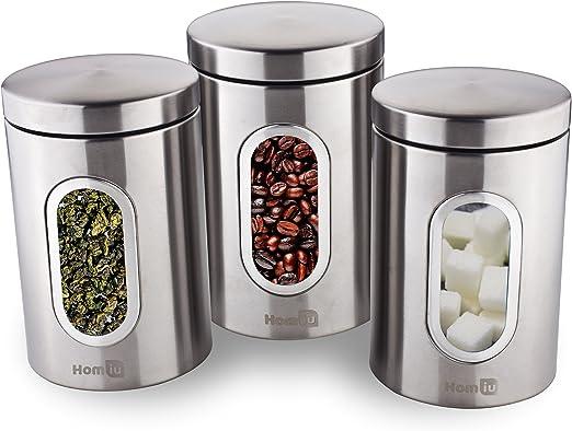 Homiu Tea Coffee And Sugar Window Canisters Set Of 3 Silver