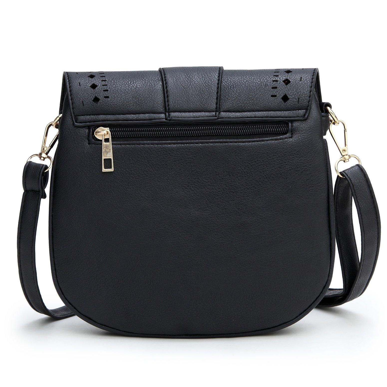 Forestfish Ladie's PU Leather Vintage Hollow Bag Crossbdy Bag Shoulder Bag (Black) by Forestfish (Image #3)