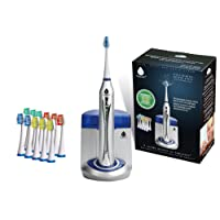 Pursonic S450 Deluxe Plus Rechargeable Sonic Electric Toothbrush with built in UV Sanitizer and bonus 12 brush heads included, Silver