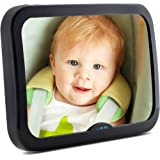 Baby Mirror for Car - Large, Wide, Clear View, Convex Back Seat Mirror is Shatterproof and Adjustable - Unbreakable 360 Swivel Backseat Mirror helps you keep an eye on your Infant or Child