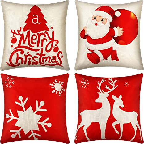"""Christmas Case Style Cover Home Decor Throw Pillow Sofa Cotton Linen 18/"""" Cushion"""