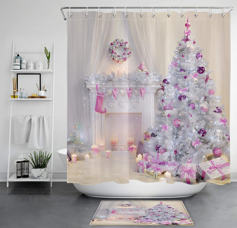 "Christmas Balls Strigned Stars Bauble Waterproof Fabric Shower Curtain Set 72/"""