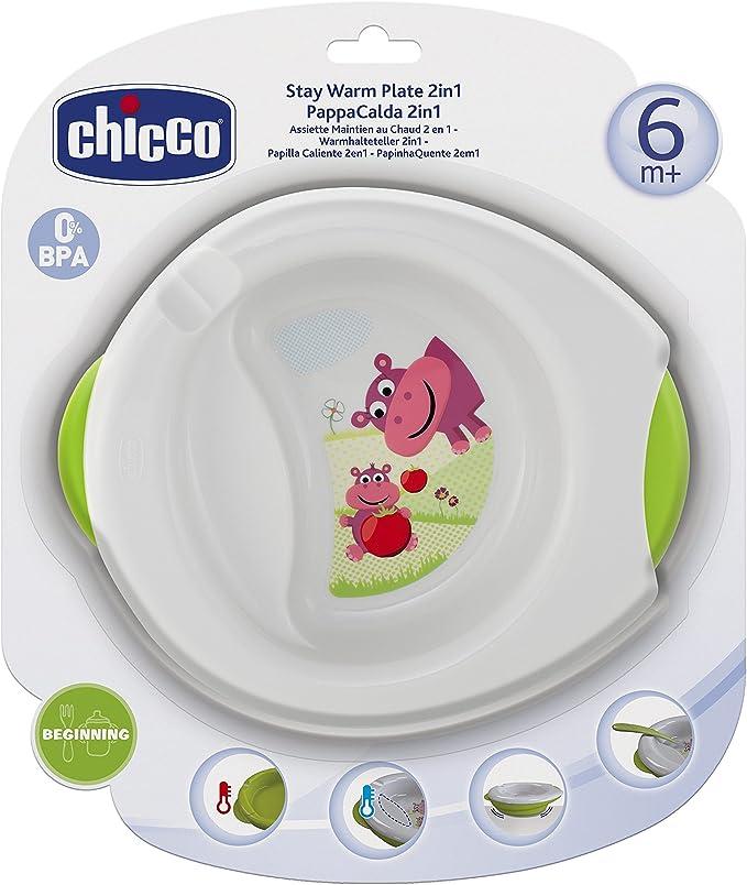 Chicco - Plato de papilla caliente 2 en 1 que mantiene temperatura, 6m+: Amazon.es: Bebé